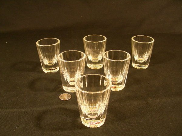 7: SIX ANTIQUE MILLEFIORI PAPERWEIGHT TYPE SHOT GLASSES