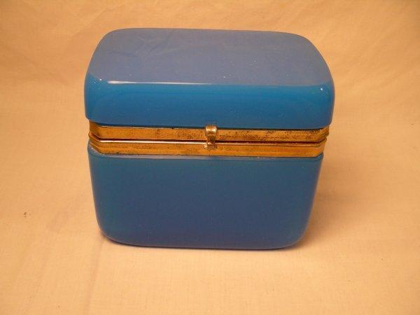 8: ANTIQUE BLUE OPALINE GLASS JEWELRY CASKET