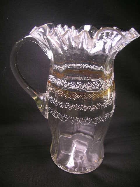 15: ANTIQUE ENAMELED BLOWN GLASS LEMONADE PITCHER