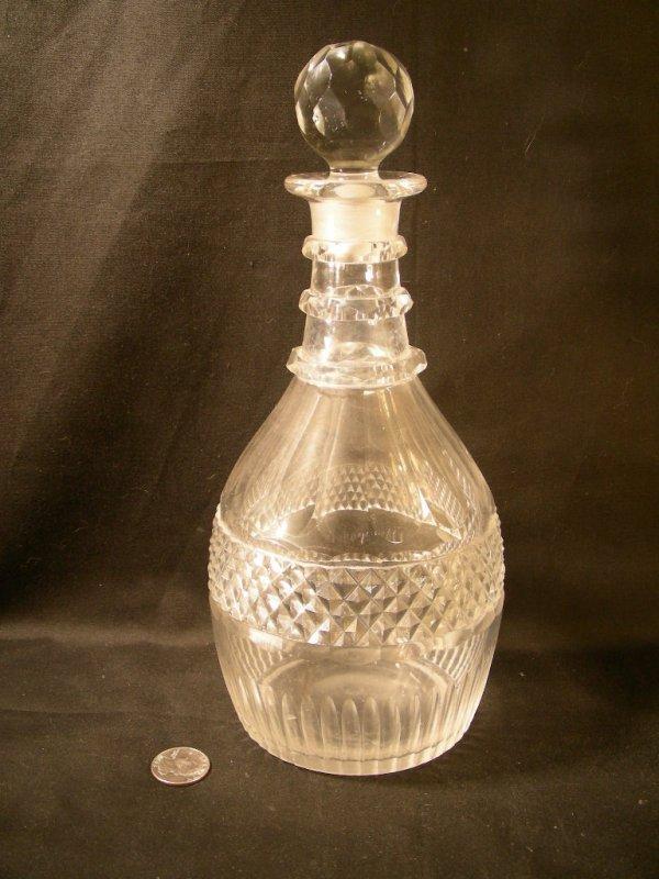 17: ANTIQUE CUT GLASS CRYSTAL DECANTER BOTTLE