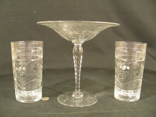19: PAIRPOINT CRYSTAL COMPOTE DRINKING GLASSES 3 PCS