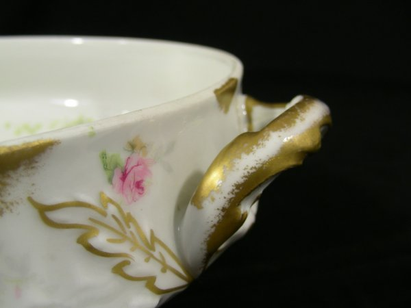203: THEODORE HAVILAND LIMOGES FRANCE SOUP TUREEN ROSES - 4