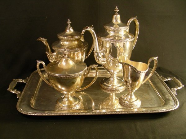 483: MANCHESTER STERLING SILVER TRAY COFFEE TEA SERVICE