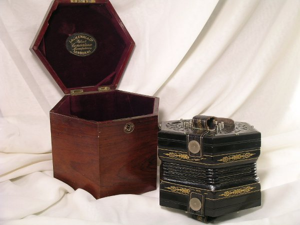 359: LACHENAL & CO LONDON CONCERTINA w/ ROSEWOOD BOX