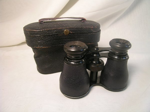 361: ANTIQUE SMALL BINOCULARS LEATHER CASE