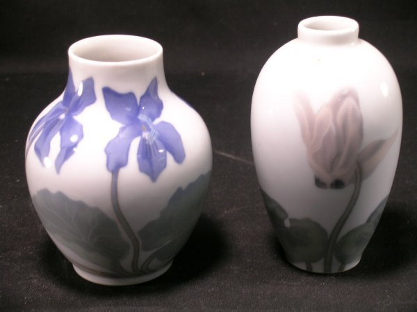 362: TWO SMALL ROYAL COPENHAGEN FLORAL VASE VASES