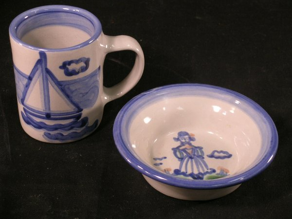 363: 2pc COLLECTIBLE HADLEY CHILDS POTTERY DISHES