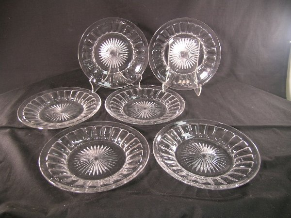 "365: SIX HEISEY CRYSTAL PLATES 8"" WIDE"