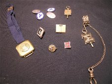 467: ANTIQUE YALE 14 K GOLD STERLING FRATERNITY JEWELRY