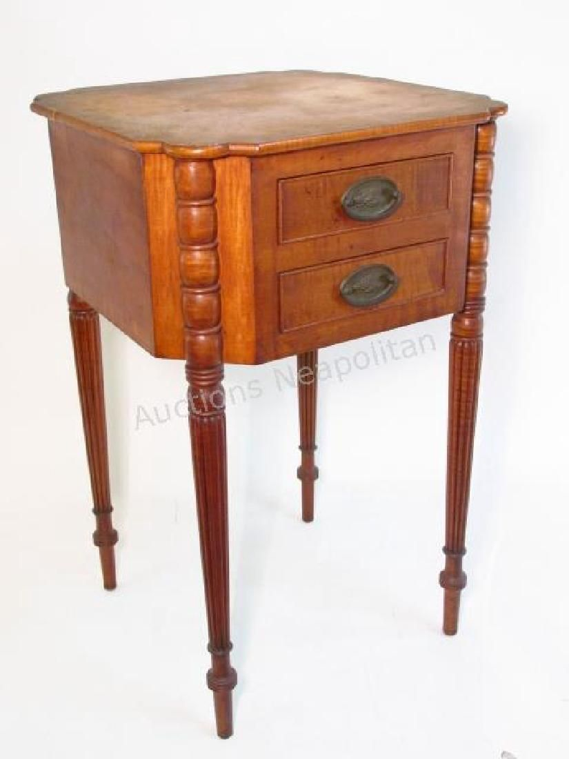 WALLACE NUTTING CURLY MAPLE SIDE TABLE