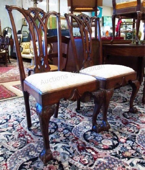 PAIR CHIPPENDALE STYLE CARVED MAHOGANY SIDE CHAIRS