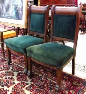 PAIR HEAVY ANTIQUE CHERRYWOOD SIDE CHAIRS
