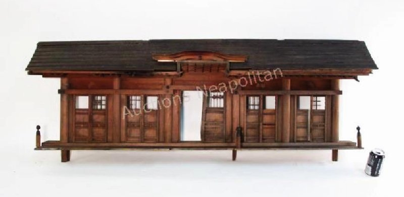 JAPANESE CARVED SOFTWOOD MODEL HOUSE WALL SCULPTUR