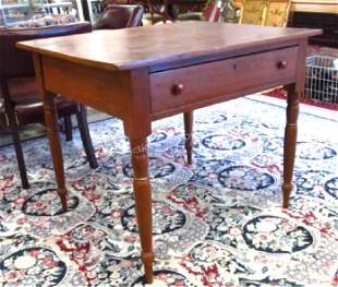 19TH C CHERRY WOOD ONE DRAWER WORK TABLE