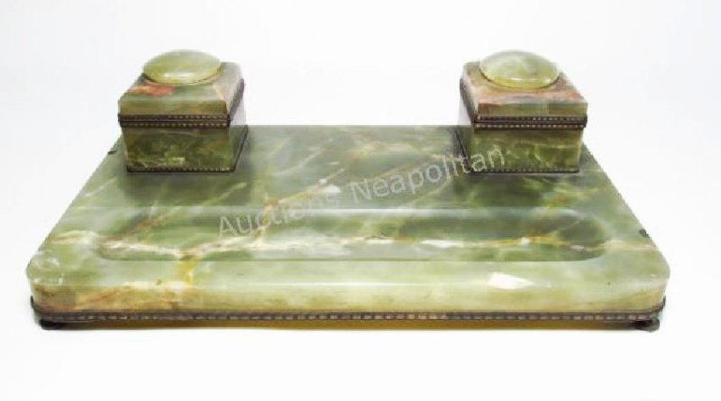 ANTIQUE ONYX INKWELL PEN REST