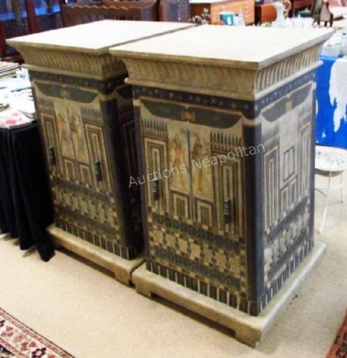 PAIR EGYPTIAN STYLE HAND PAINTED PEDESTAL CABINETS