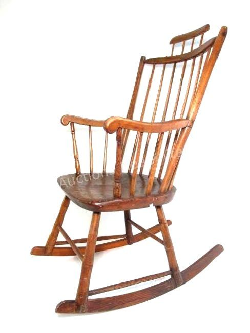 19TH C CARVED OAK WINDSOR STYLE ROCKING CHAIR
