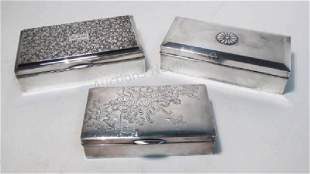 THREE STERLING SILVER CLAD BOXES: JAPANESE, ETC.