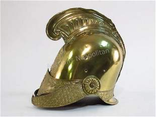 LATE 19TH C FRENCH BRASS FIRE HELMET
