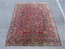 LARGE SEMI ANTIQUE SAROUK HAND KNOTTED RUG 9 X 11