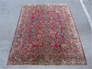 LARGE SEMI ANTIQUE SAROUK HAND KNOTTED RUG 9' X 11