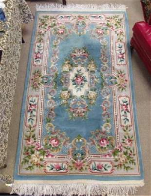 CHINESE HAND KNOTTED FLORAL WOOL RUG - 4' X 7'