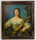 OIL ON CANVAS PORTRAIT PAINTING OF A WOMAN