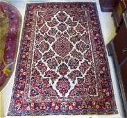 VINTAGE PERSIAN SAROUK HAND KNOTTED RUG - 6' X 9'