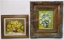 TWO VINTAGE MID CENTURY FLORAL STILL LIFE PAINTING