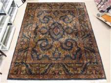 LARGE INDIAN HAND KNOTTED WOOL & COTTON RUG