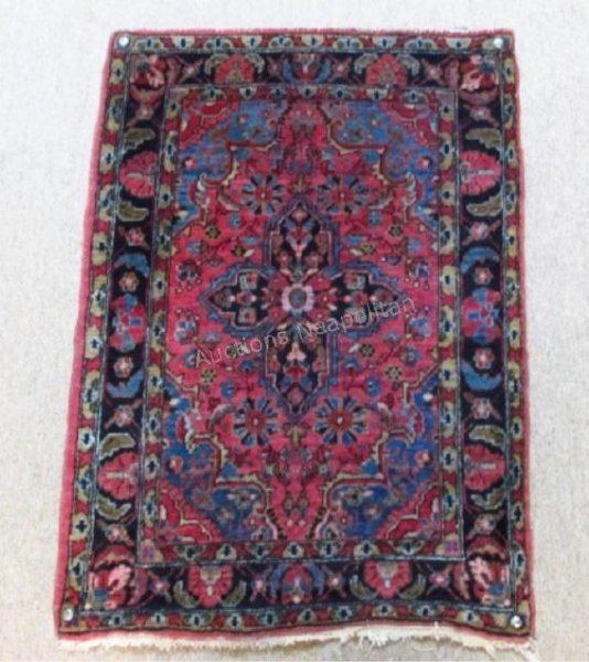 """ANTIQUE PERSIAN HAND KNOTTED RUG - 2' X 2'11"""""""