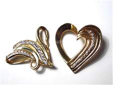 TWO 14K GOLD  DIAMOND SLIDE PENDANTS HEART ETC