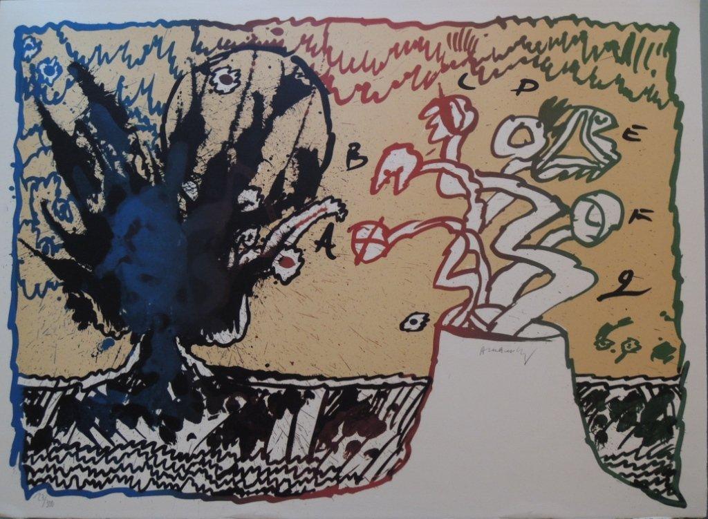 4: Pierre Alechinskj, Volcan alphabétique, 1970