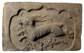 13: Antique grey limestone tile with flying horse