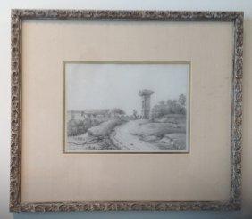 14: Italian Pencil Drawing 19th Century