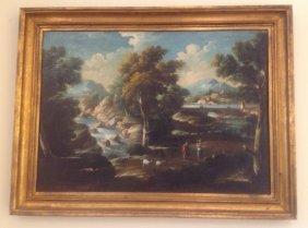 17: Italian Cappricio Painting of a Waterfall