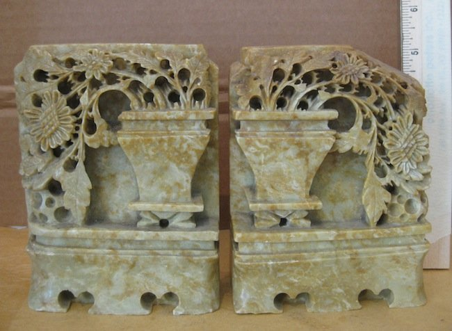 22: Chinese Carved Hardstone Bookends, 20th century  2