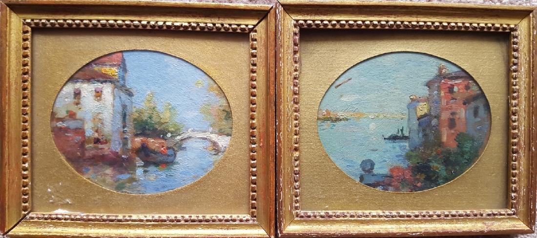 Maurice Bompard  Venice Impressionist Paintings Pair