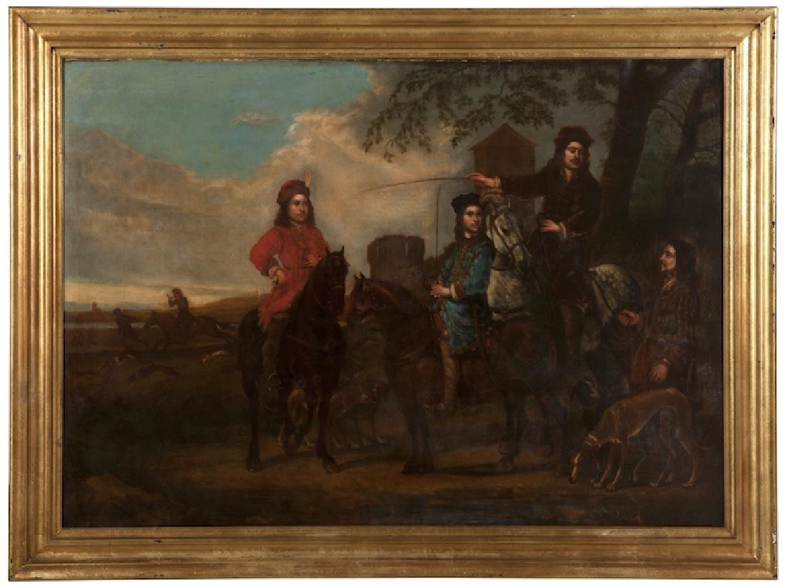 Old Master Hunting Painting HUGE SIZE!