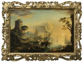 Old Master Painting Harbor Scene LARGE