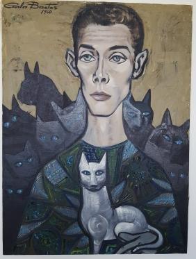 Carlos Bastos Brazil Latin Modernist Mid-Century Cats