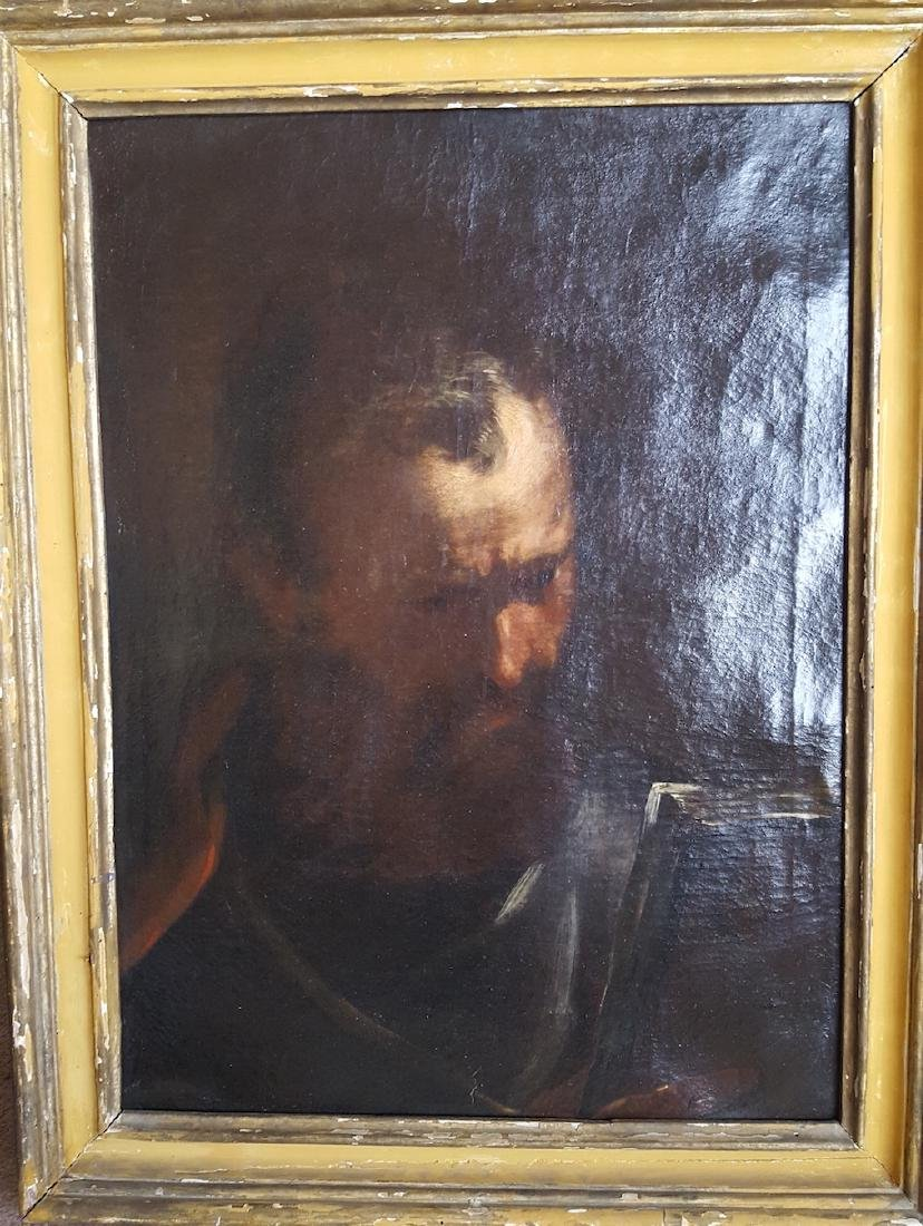 Italian Old Master Painting Old Man with Book 1600's