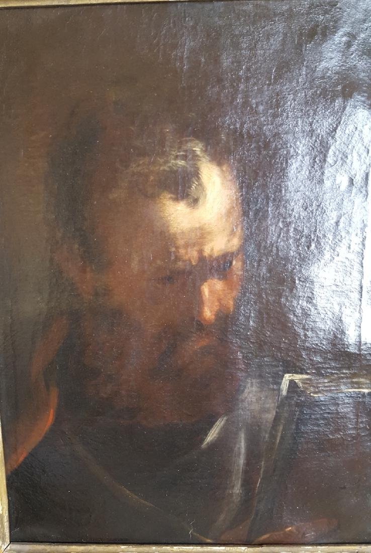 Italian Old Master Painting Old Man with Book 1600's - 3