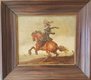 Old Master Dutch Painting Cavalier & Horse