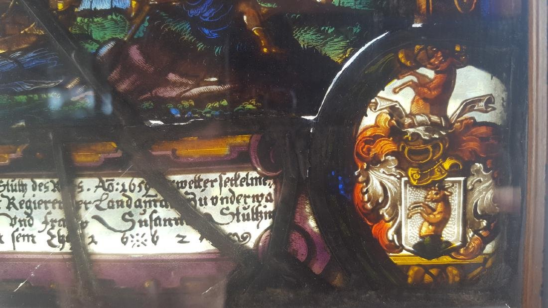 Antique Stained Glass German Baroque Mythological Scene - 4