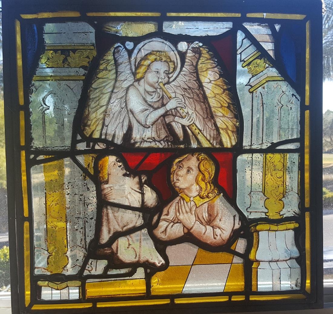 German Gothic Era Antique Stained Glass with Angels