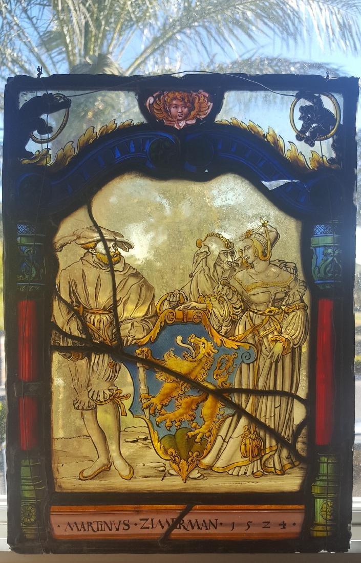 German Renaissance Stained Glass Heraldic Crest
