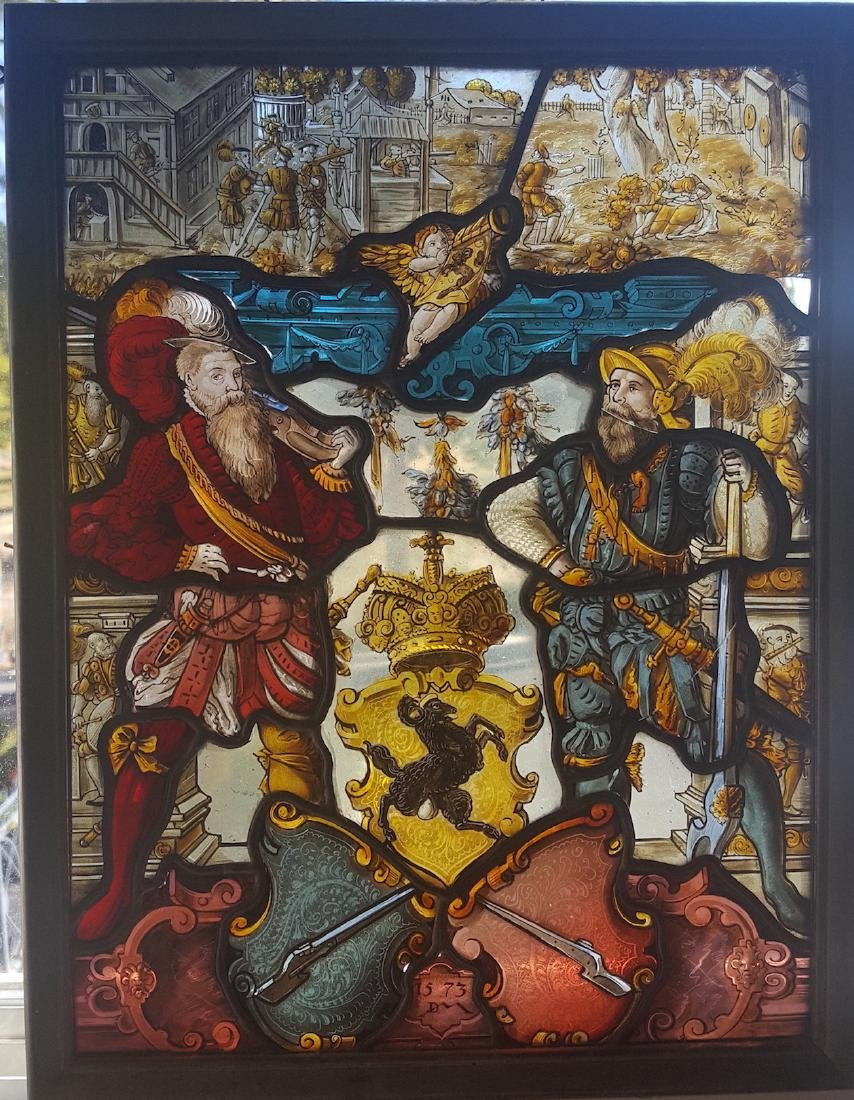 Swiss Renaissance Era Stained Glass  Arms & Armor