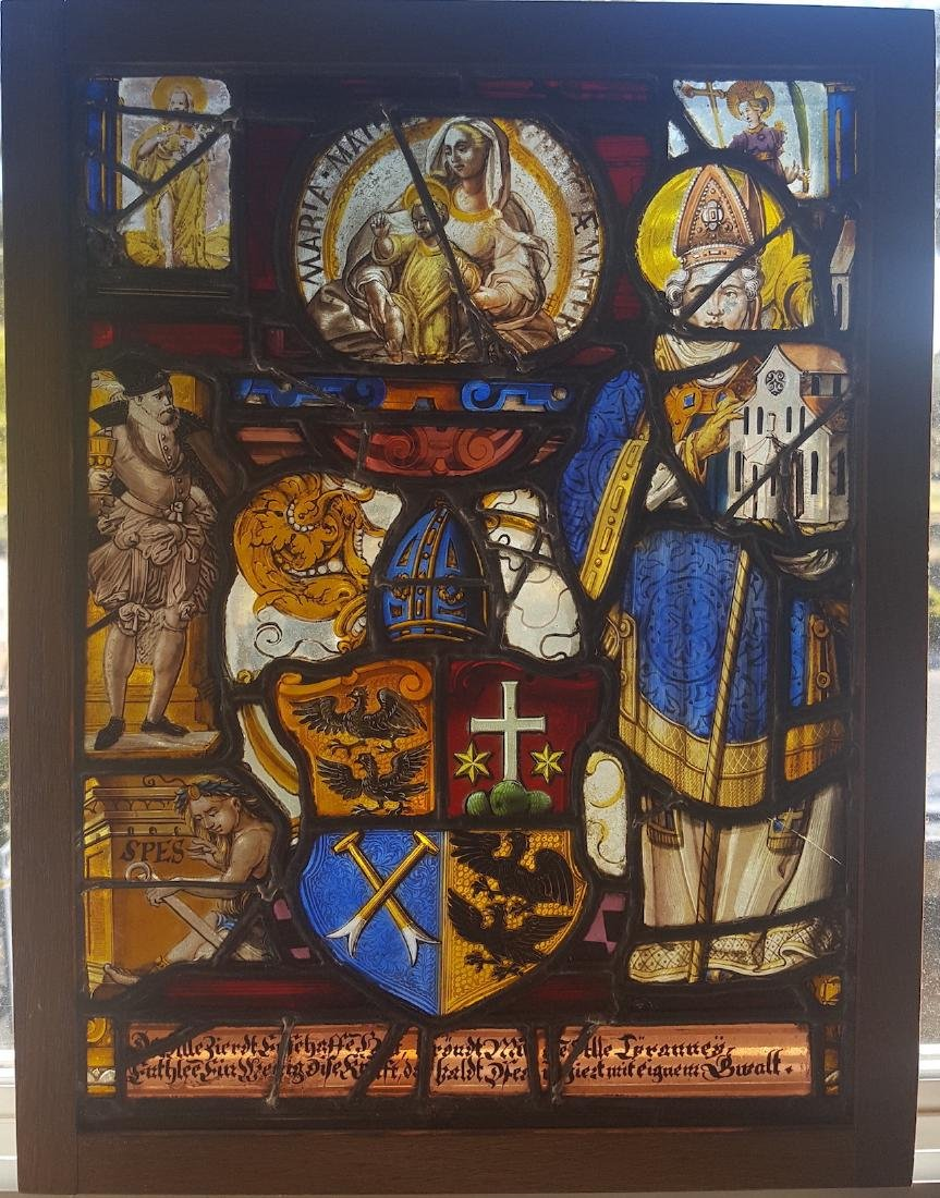 Swiss Renaissance Era Stained Glass  Heraldic Crest and