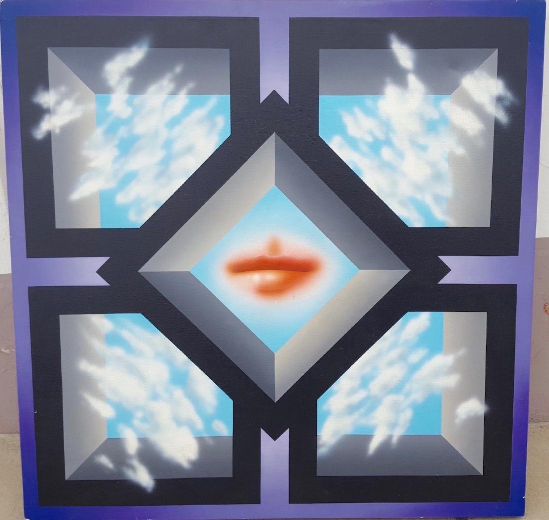 Pop OpArt Modern 1970's Lips painting